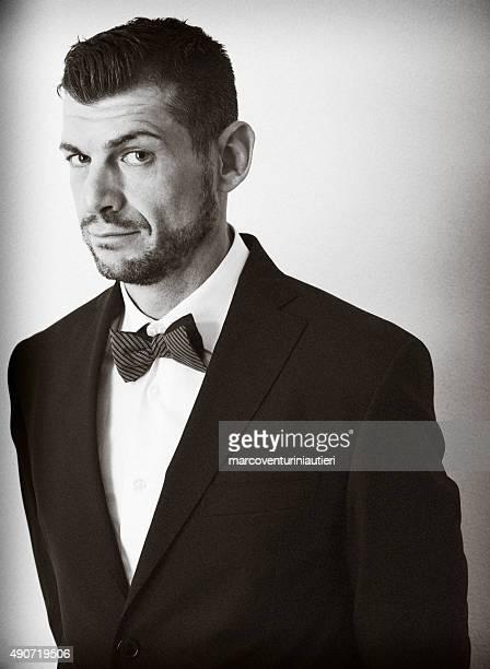 Retro portrait of a sly elegant gentleman