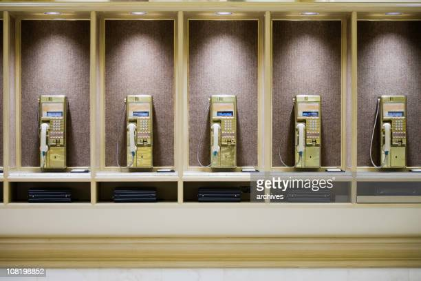Retro Public Telephone Booths in a Row