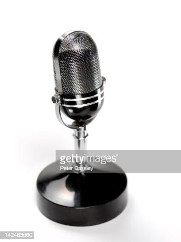 Retro radio studio microphone with copy space