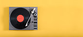 An old record player header image on yellow background with copy space