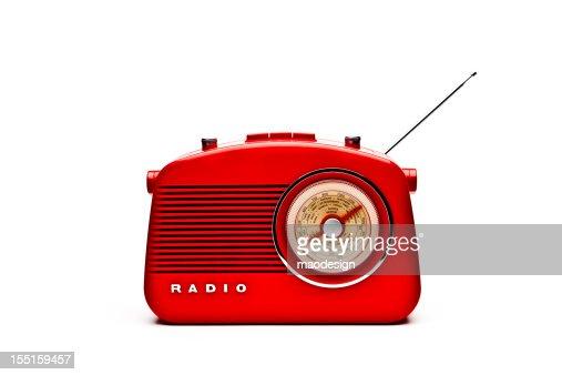 Retro Red Radio Set, Studio Isolated