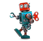 Retro Robot wound up with a key. Isolated over white. Contains clipping path