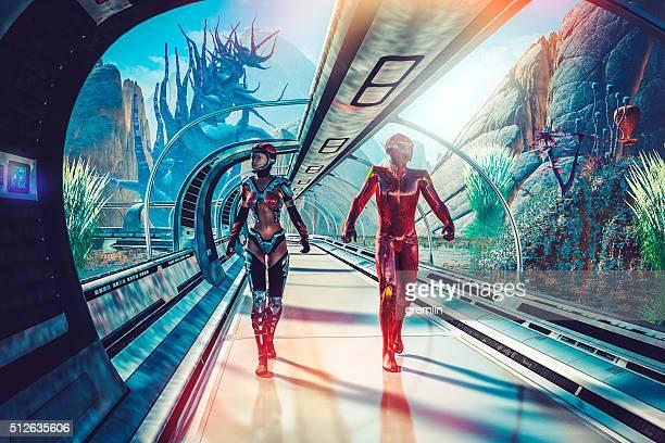 Retro sci-fi of futuristic planetary terraforming