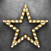 Retro star with light bulbs on concrete background. 3D rendering