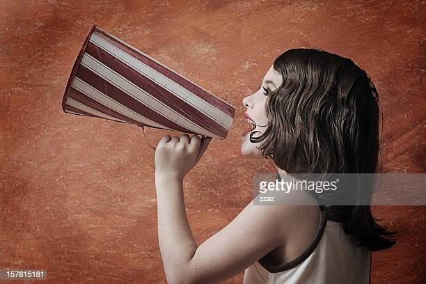 Retro style girl with megaphone