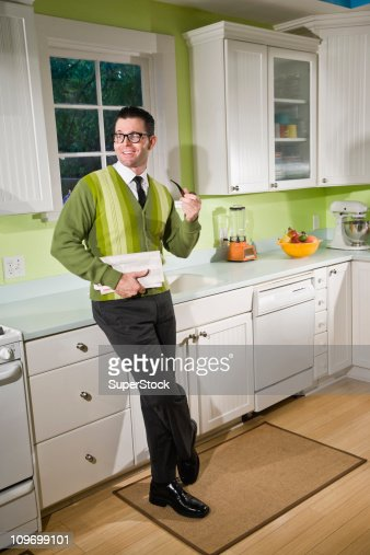 Retro style man at home : Stock Photo