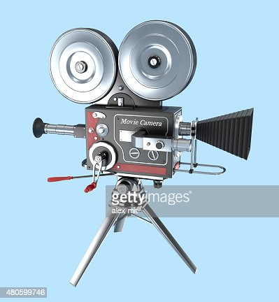 Retro style movie camera : Stock Photo