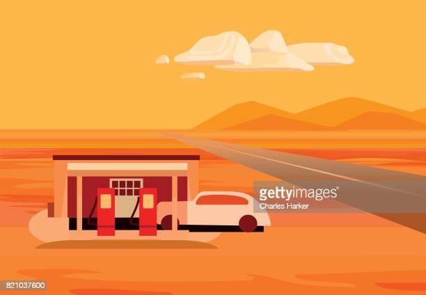 Retro Style Scene Orange Illustration of old gas station in Arizona Desert