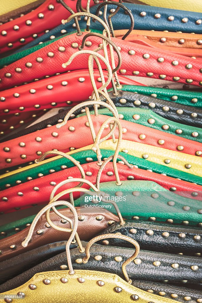 Retro styled image of old dress hangers : Stock Photo
