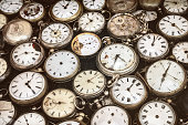 Retro styled image of old scratched and run down pocket watches
