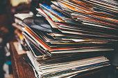 Retro styled lp records on a flea market.