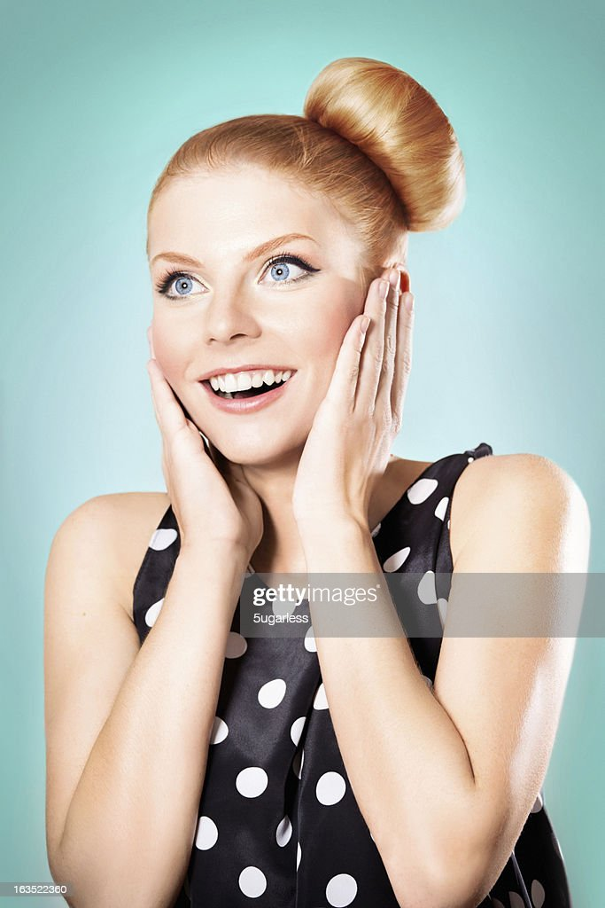 Retro styled woman surprised