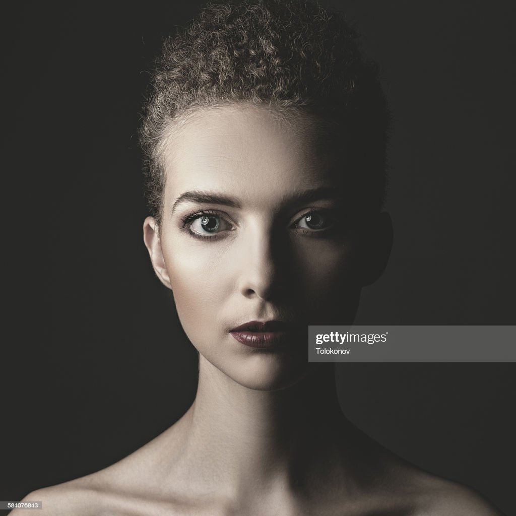 Retro styling female portrait : Stock Photo