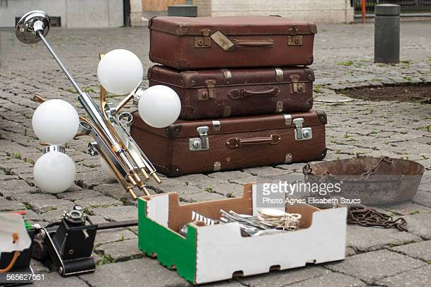 Retro suitcases and hanging lamp for sale