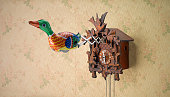Retro Tin Toy Duck coming out of Cuckoo Clock on spring