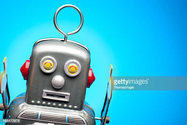 Rétro portrait robot Jouet Étain, humour bleu