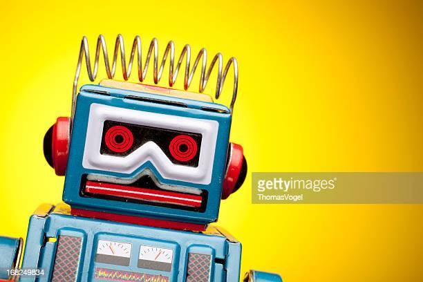 Rétro portrait robot Jouet Étain, humour jaune