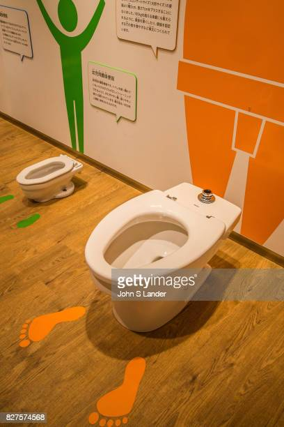 Retro Toilets at Toto Toilet Museum Japan makes some of the world's fanciest toilets  The Toto Museum's white shiny modern architectural design is...