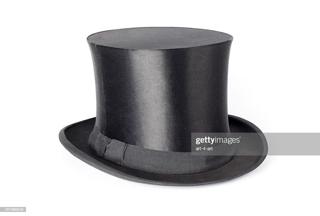 Retro top hat on white background