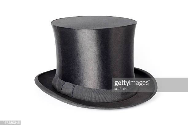 Retro top hat on white background