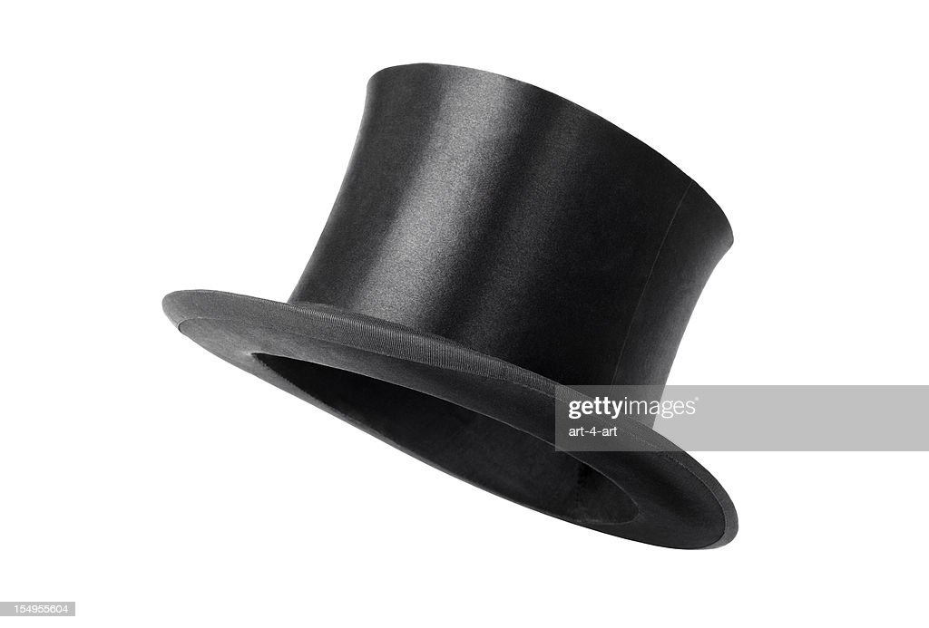 Retro top hat ready to wear on white background