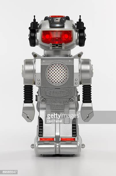 Retro toy robot, lights on, from the 1970's