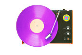 Retro turntable with purple vinyl record, isolated on white background. The precise rendering of the black plastic surface is no picture noise.