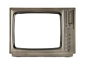 Retro television - old vintage TV with frame screen isolate on white with clipping path for object, retro technology