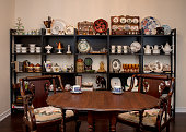 Retro / Vintage style tea room, vintage home interior. Tea time. Antique teacup, antique furniture. Afternoon tea at home.