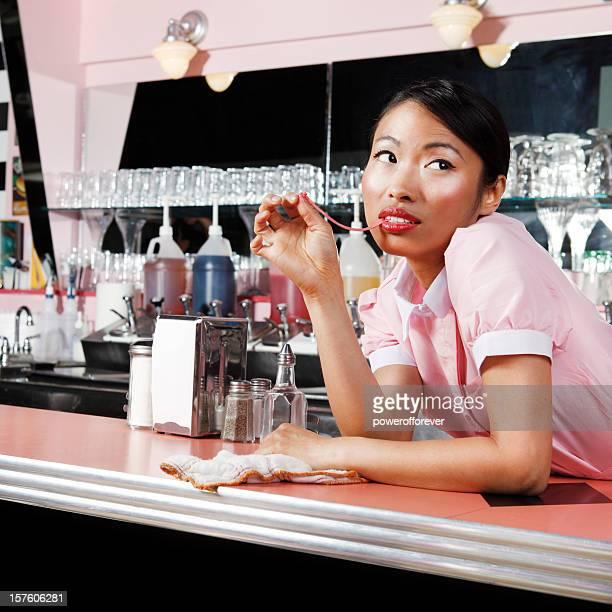 Retro Waitress Bored at Work