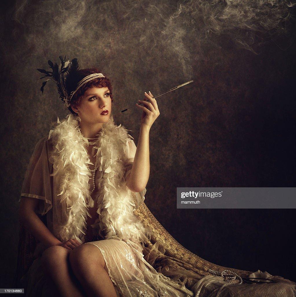 retro woman smoking cigarette