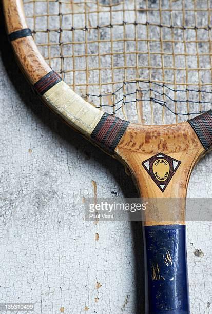 retro wooden tennis racket