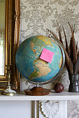 retro world globe with holiday destination