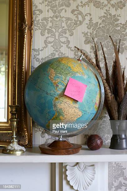 retro world globe with holiday destination