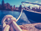 Retro Filtered Photo Of A Luxury Yacht Tied To Pier