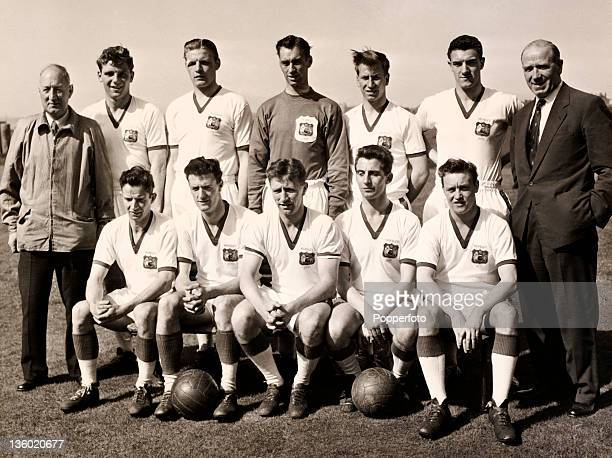 A retrospective team group photograph of Manchester United circa April 1957 when they were League Champions and Cup finalists published after the...