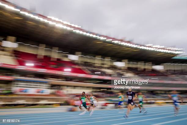 Retshidisitswe Mlenga of South Africa competes in the boys 200m semi final during day 4 of the IAAF U18 World Championships at Moi International...