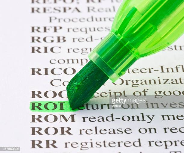 Rückkehr auf Investition Roi Definition in dicionary