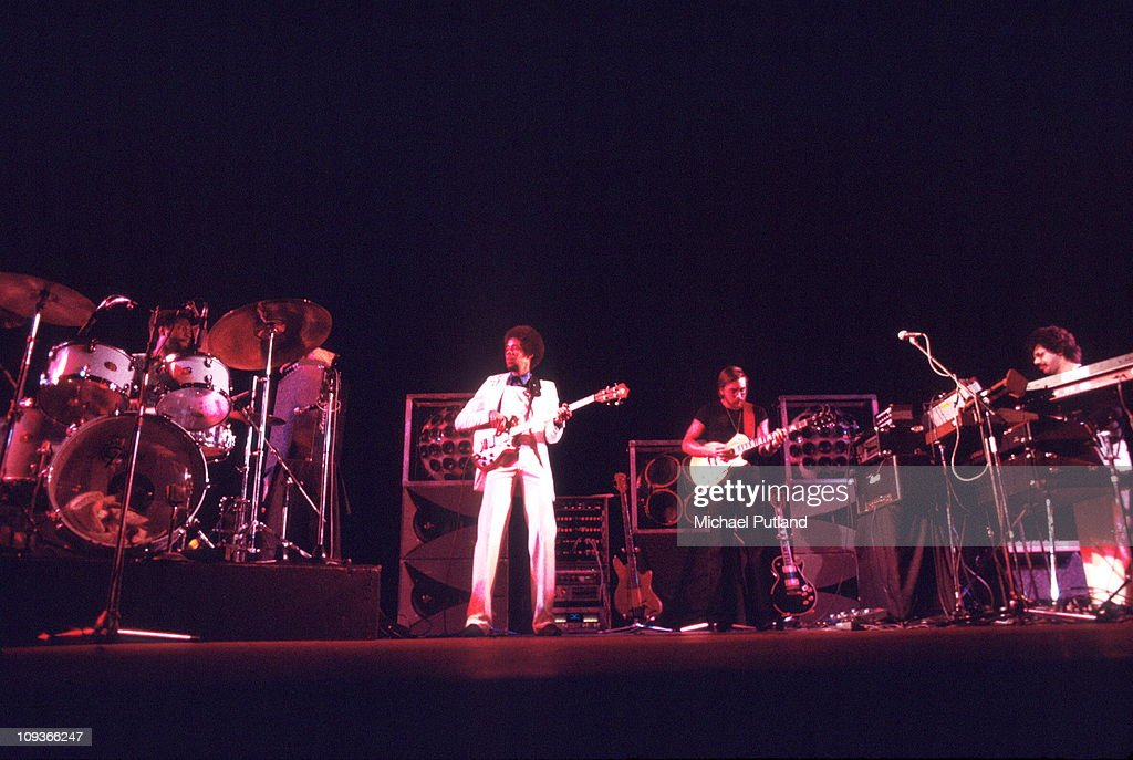 Return To Forever perform on stage New York 23rd May 1977 LR Lenny White Stanley Clarke Al Di Meola Chick Corea