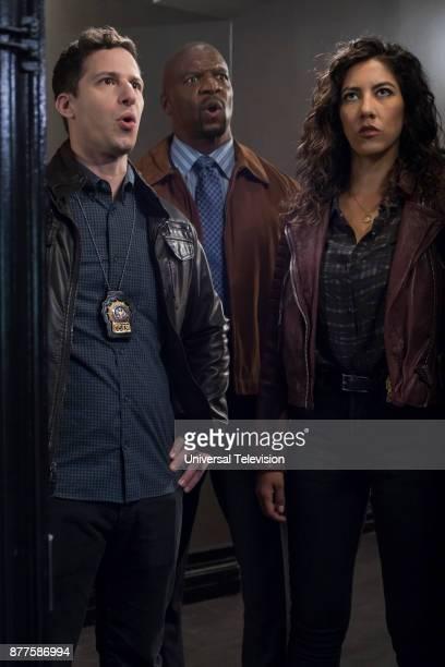 NINE 'Return to Skyfire' Episode 507 Pictured Andy Samberg as Jake Peralta Terry Crews as Terry Jeffords Stephanie Beatriz as Rosa Diaz