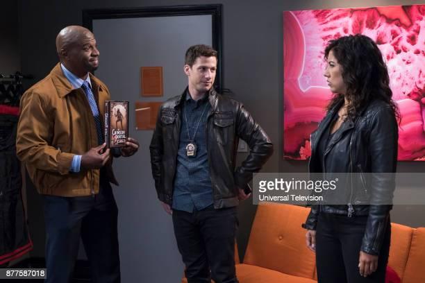 NINE 'Return to Skyfire' Episode 507 Pictured Terry Crews as Terry Jeffords Andy Samberg as Jake Peralta Stephanie Beatriz as Rosa Diaz