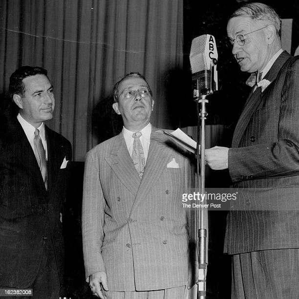 MAY 12 1949 Returning to Denver his old home town with his amateur hour radio program Ted Mack is welcomed by Governor Knous Center is Palmer Hoyt...