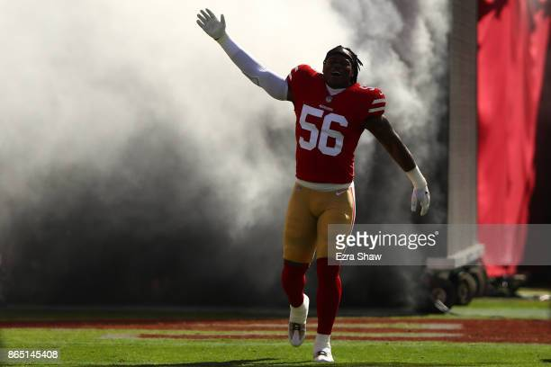 Reuben Foster of the San Francisco 49ers takes the field prior to their NFL game against the Dallas Cowboys at Levi's Stadium on October 22 2017 in...