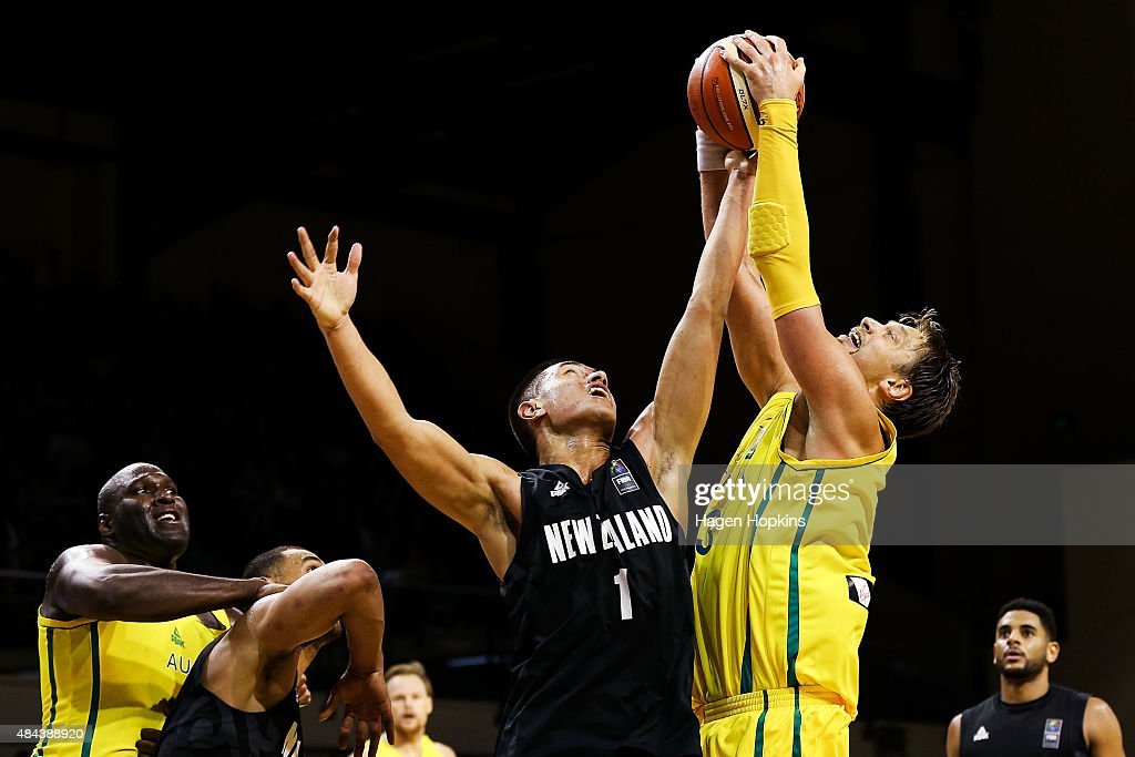 Reuben Te Rangi of the Tall Blacks and David Andersen of the Boomers compete for the ball during the game two match between the New Zealand Tall Blacks and Australian Boomers at at TSB Bank Arena on August 18, 2015 in Wellington, New Zealand.