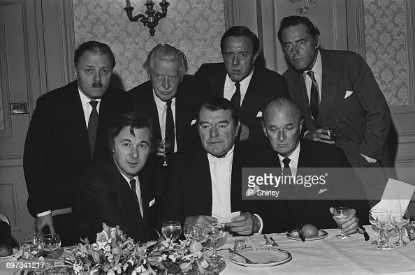 A reunion at the Cafe Royal in London of actors from the 1960 British film 'The League of Gentlemen' UK 30th October 1969 From left to right Richard...