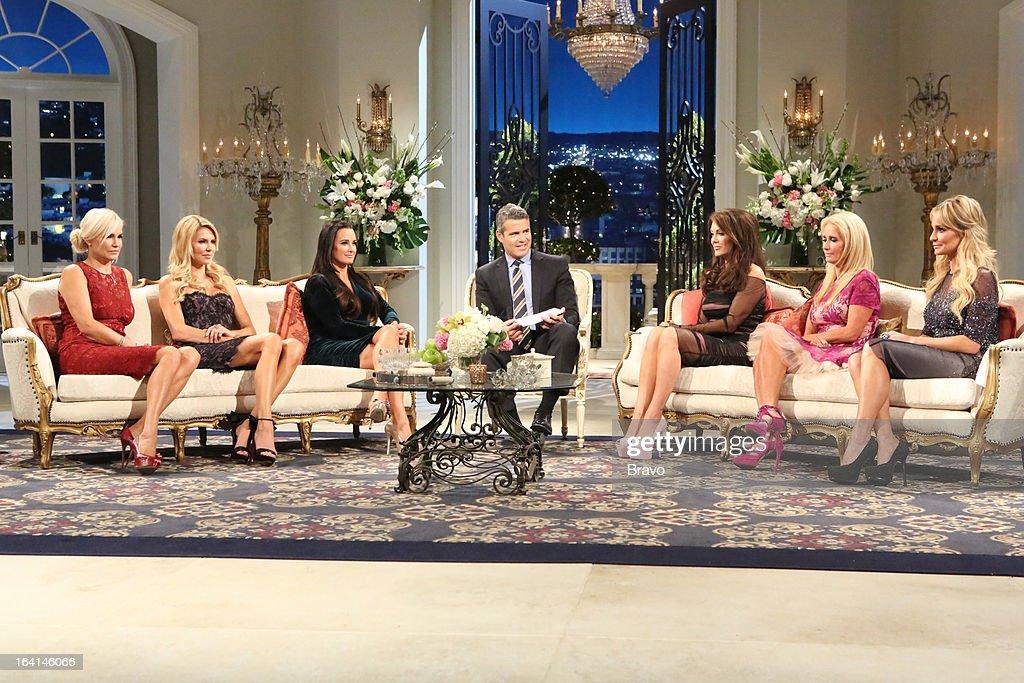 HILLS -- 'Reunion' Episode 320 & 321 -- Pictured: (l-r) Yolanda H. Foster, Brandi Glanville, Kyle Richards, Andy Cohen, Lisa Vanderpump, Kim Richards, Taylor Armstrong --