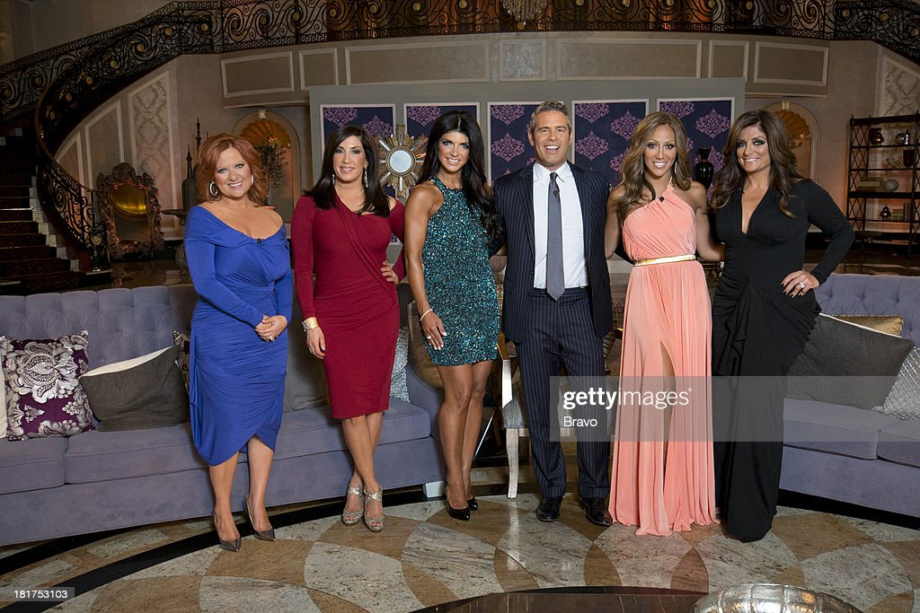 """JERSEY -- """"'Reunion' Episode 519 & 520 -- Pictured: (l-r) <a gi-track='captionPersonalityLinkClicked' href=/galleries/search?phrase=Caroline+Manzo&family=editorial&specificpeople=5841102 ng-click='$event.stopPropagation()'>Caroline Manzo</a>, <a gi-track='captionPersonalityLinkClicked' href=/galleries/search?phrase=Jacqueline+Laurita&family=editorial&specificpeople=13618243 ng-click='$event.stopPropagation()'>Jacqueline Laurita</a>, <a gi-track='captionPersonalityLinkClicked' href=/galleries/search?phrase=Teresa+Giudice&family=editorial&specificpeople=5912953 ng-click='$event.stopPropagation()'>Teresa Giudice</a>, host <a gi-track='captionPersonalityLinkClicked' href=/galleries/search?phrase=Andy+Cohen+-+Television+Personality&family=editorial&specificpeople=7879180 ng-click='$event.stopPropagation()'>Andy Cohen</a>, <a gi-track='captionPersonalityLinkClicked' href=/galleries/search?phrase=Melissa+Gorga&family=editorial&specificpeople=7306775 ng-click='$event.stopPropagation()'>Melissa Gorga</a>, <a gi-track='captionPersonalityLinkClicked' href=/galleries/search?phrase=Kathy+Wakile&family=editorial&specificpeople=7306776 ng-click='$event.stopPropagation()'>Kathy Wakile</a> --"""