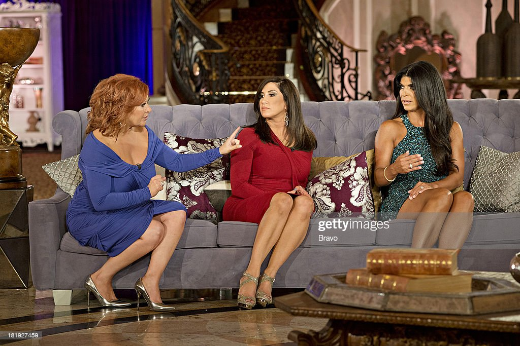 """JERSEY -- """"'Reunion' Episode 519 & 520 -- Pictured: (l-r) <a gi-track='captionPersonalityLinkClicked' href=/galleries/search?phrase=Caroline+Manzo&family=editorial&specificpeople=5841102 ng-click='$event.stopPropagation()'>Caroline Manzo</a>, Jacqueline Laurita, <a gi-track='captionPersonalityLinkClicked' href=/galleries/search?phrase=Teresa+Giudice&family=editorial&specificpeople=5912953 ng-click='$event.stopPropagation()'>Teresa Giudice</a> --"""