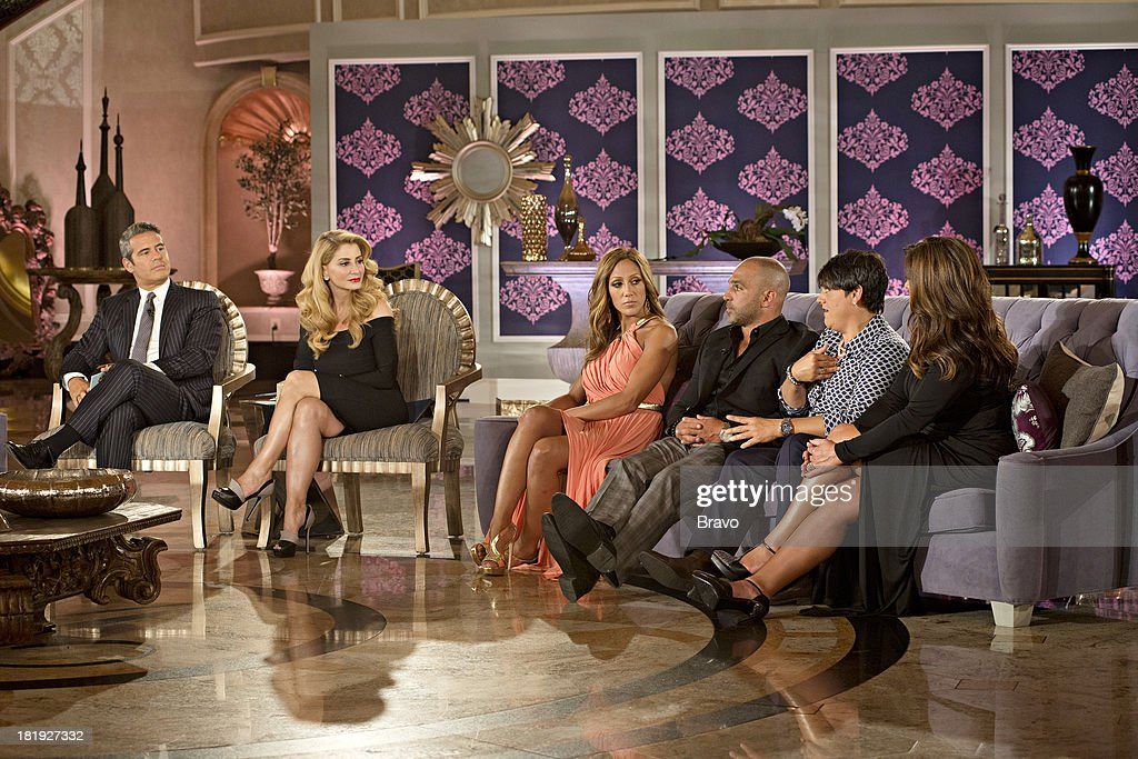 """JERSEY -- """"'Reunion' Episode 519 & 520 -- Pictured: (l-r) Host Andy Cohen, Dr. V (Venus Nicolino), <a gi-track='captionPersonalityLinkClicked' href=/galleries/search?phrase=Melissa+Gorga&family=editorial&specificpeople=7306775 ng-click='$event.stopPropagation()'>Melissa Gorga</a>, Joe Gorga, Rosie Pierri, <a gi-track='captionPersonalityLinkClicked' href=/galleries/search?phrase=Kathy+Wakile&family=editorial&specificpeople=7306776 ng-click='$event.stopPropagation()'>Kathy Wakile</a> --"""