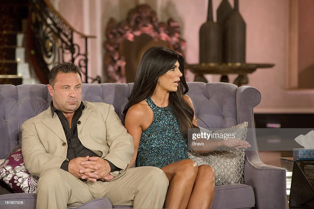 """JERSEY -- """"'Reunion' Episode 519 & 520 -- Pictured: (l-r) <a gi-track='captionPersonalityLinkClicked' href=/galleries/search?phrase=Joe+Giudice&family=editorial&specificpeople=5978109 ng-click='$event.stopPropagation()'>Joe Giudice</a>, <a gi-track='captionPersonalityLinkClicked' href=/galleries/search?phrase=Teresa+Giudice&family=editorial&specificpeople=5912953 ng-click='$event.stopPropagation()'>Teresa Giudice</a> --"""